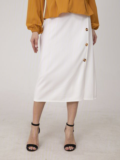 White Cotton Casual Plain Skirts