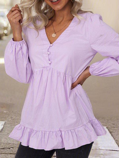 Purple Plain V Neck Ruffled Long Sleeve Shirts