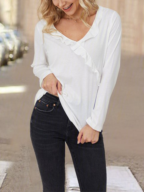 White Ruffled Cotton Long Sleeve Solid Shirts