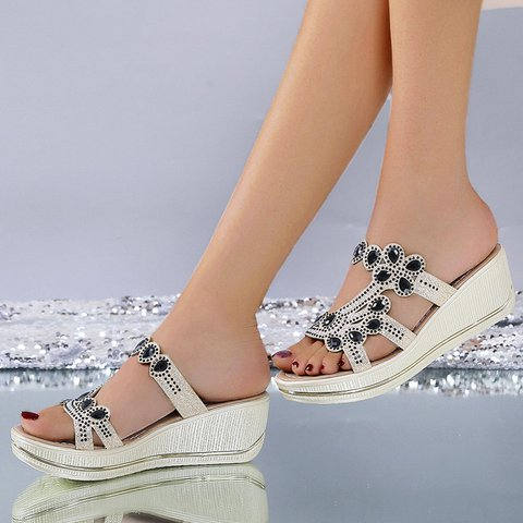 Platform Rhinestone Cut Out Slide Sandals Women Casual Slippers