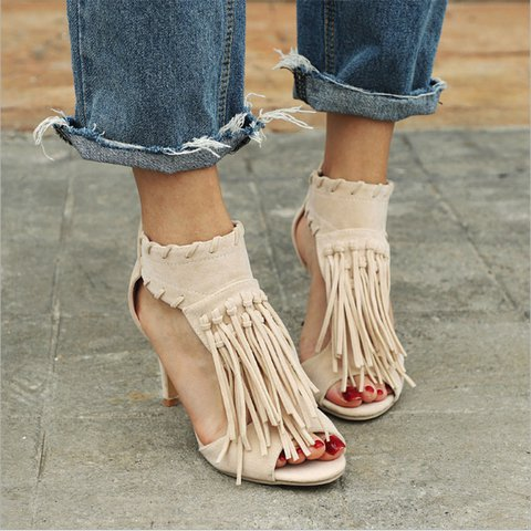 Women Elegant Summer Tassel High Heel Sandals