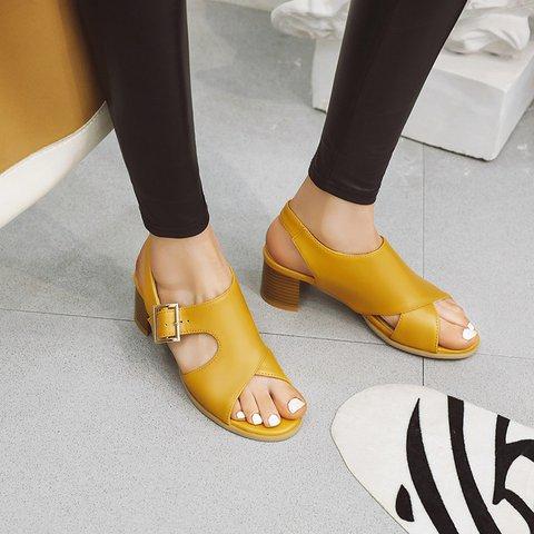 Block Heel Adjustable Buckle Pu Summer Sandals