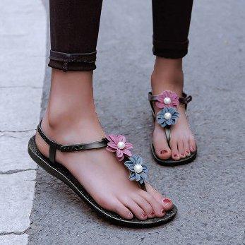 Women Thong Sandals Flowers Casual Flat Heel Shoes