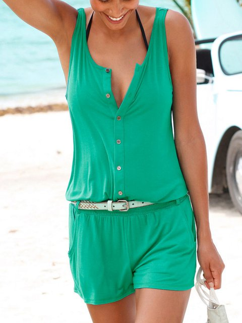 Solid Sleeveless Romper Pockets Jumpsuits