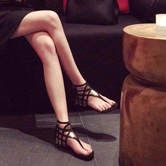 Womens Flat Heel Casual Zipper Pu Thong Sandals