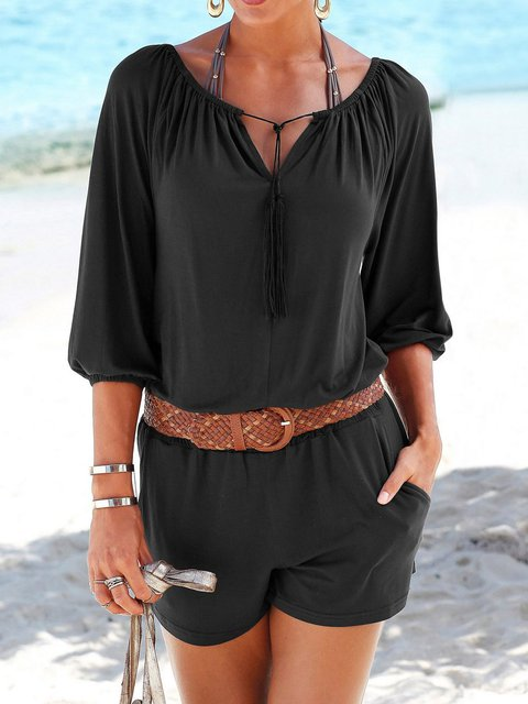 Solid Romper Pockets Jumpsuit 3/4 Sleeve