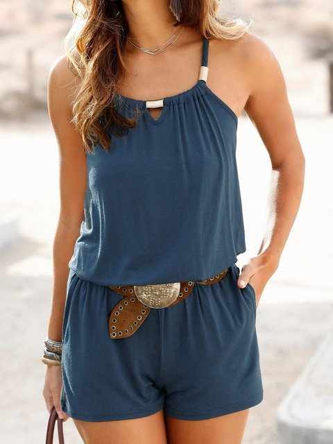 Solid Spaghetti Rompers Pockets Romper