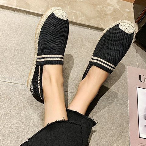 Flat Heel Woven Material Round Toe Dress Loafers