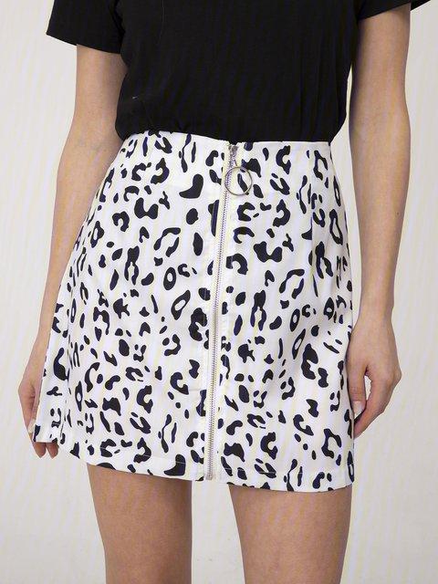 White-Black Casual Animal Skirts
