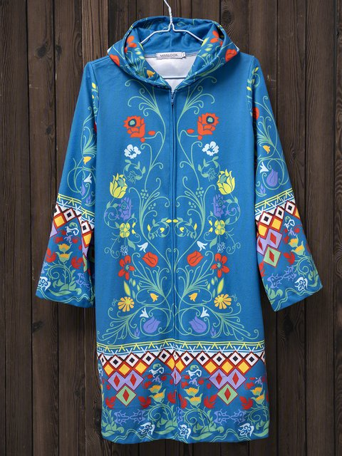 Autumn Casual Vintage Printed Blue Long Knitted Sweater Coat