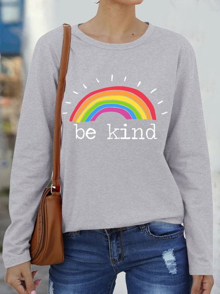 Vintage Long Sleeve Rainbow Letter Printed Plus Size Casual Tops
