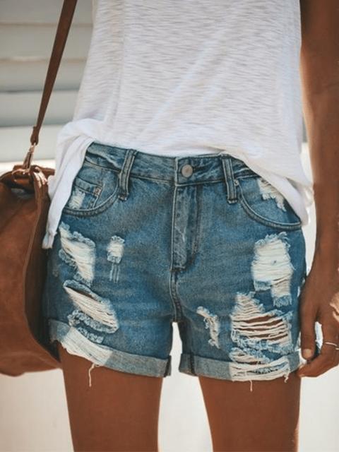 Pockets Casual Denim Pants