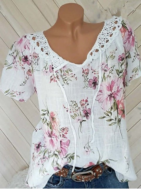 Short Sleeve Floral Printed V Neck Shirts & Tops