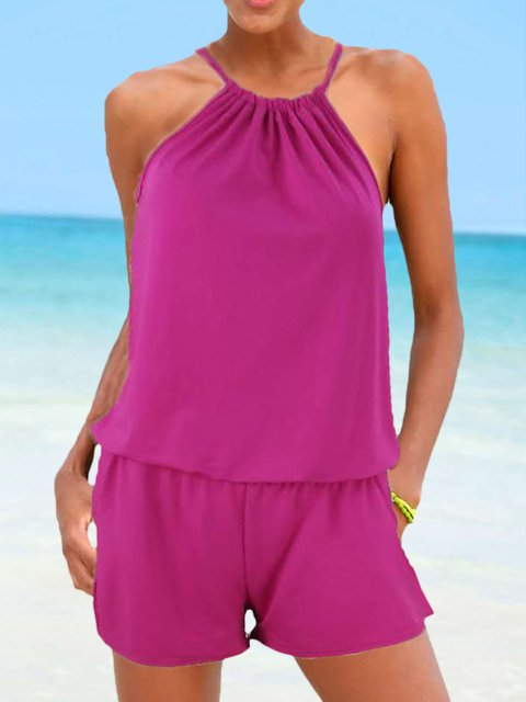 Sleeveless Pockets Romper Beach Crew Neck Rompers