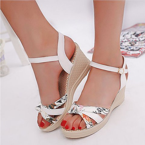 Bowknot Daily Artificial Leather High Heel Sandals