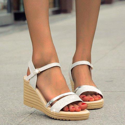 Block Heel Sparkling Glitter Sandals