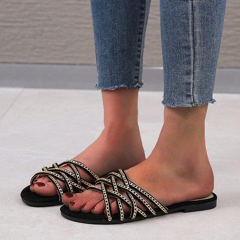 Women Open Toe Casual Pu Summer Slippers