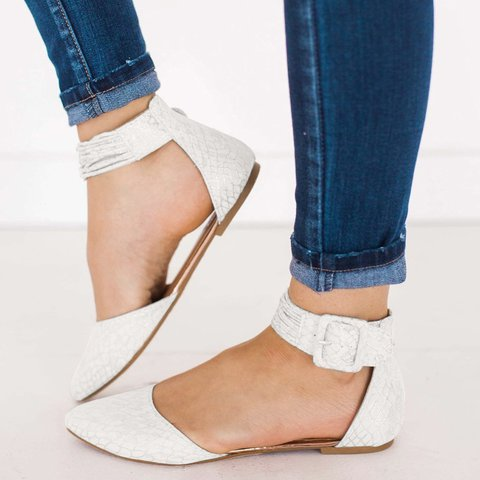 Summer Slip-On Button Pointed Toe Sandals