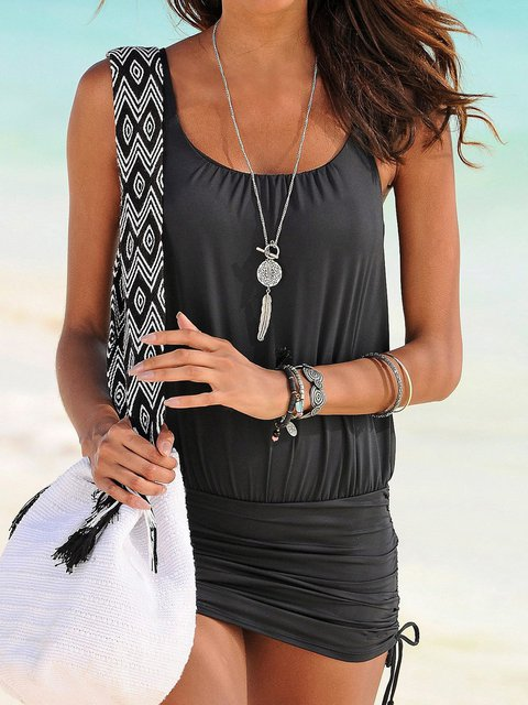 Spaghetti Beach Mini Dress Summer Paneled Dresses