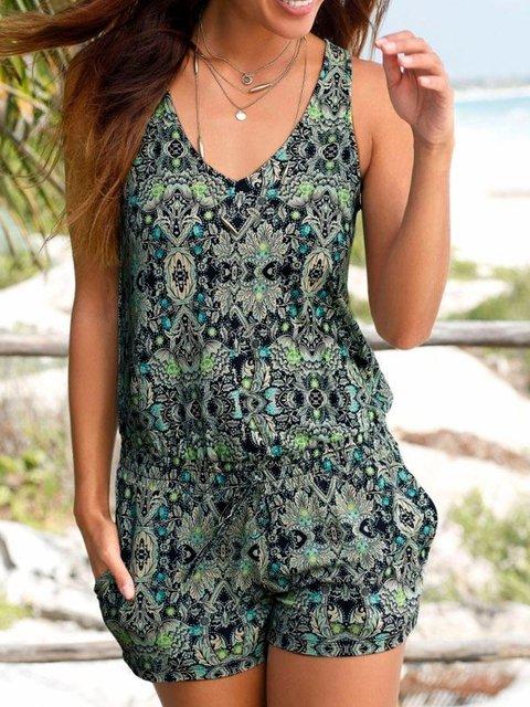 Sleeveless Printed Pockets Romper Beach