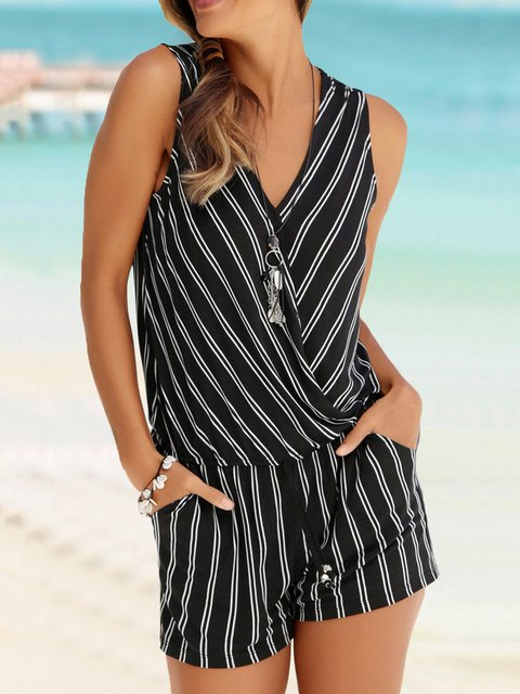 Striped Pockets Romper Summer Beach Rompers