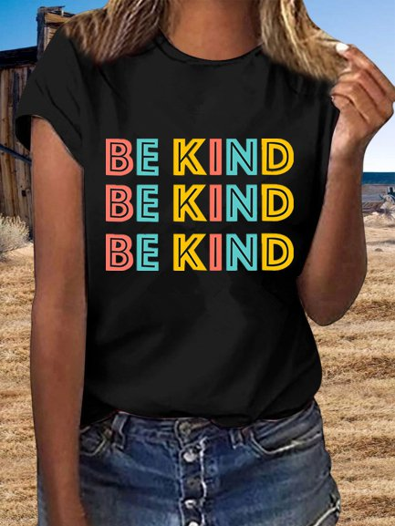 Vintage Short Sleeve Multicolor Be Kind Letter Printed Plus Size Casual Tops
