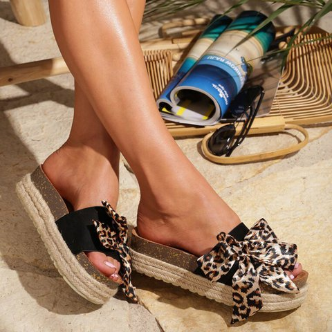 Summer Leopard Bowknot Sandals