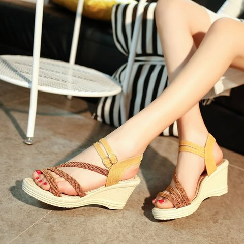 Pi Clue Artificial Leather Holiday High Heel Sandals
