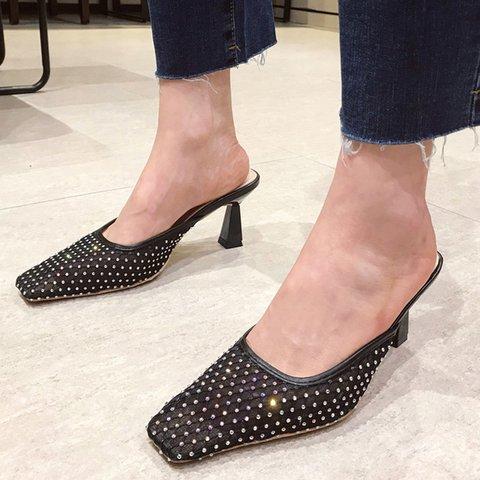 Rhinestone Square Toe Chunky Heel Slippers