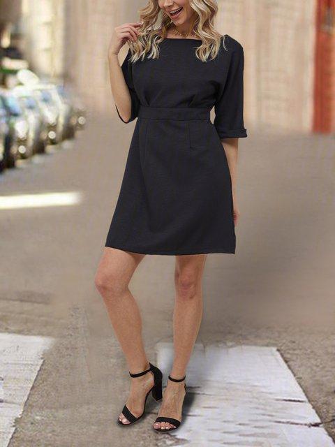 Black Short Sleeve Plain  Dresses