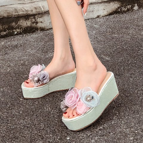 Aqua Holiday Summer Flower Wedge Heel Slippers
