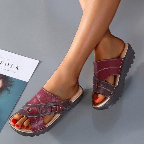 Low Heel Buckle Slide Women Open Toe Comfy Slippers