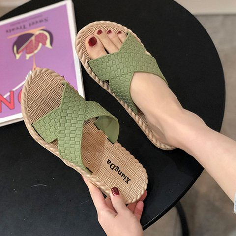 Flat Heel Artificial Leather Slippers