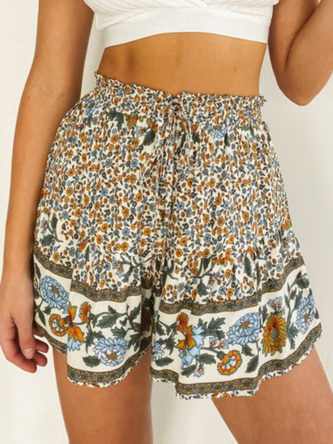 Bohemian Mid-rise Printed Casual Lace-up Shorts