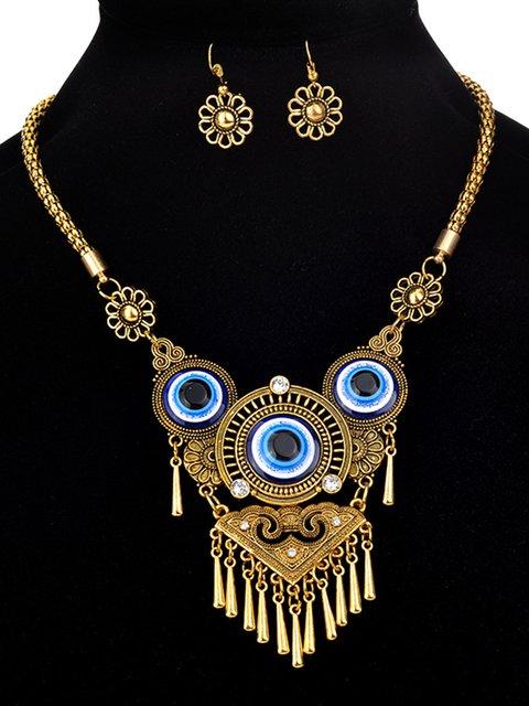 Vintage Turkish Blue Eye Clavicle Necklace
