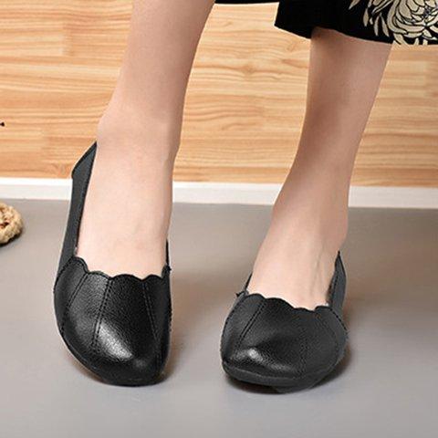 Womens Low Heel Slip-On Breathable Summer Pu Flats