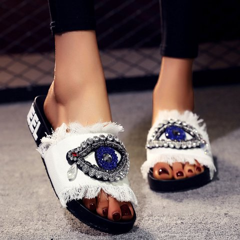 Denim Rhinestone Fashion Eyes Shape Flat Heel Slippers