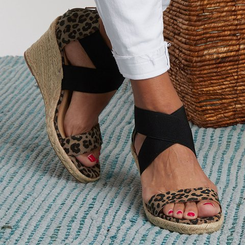 Leopard-Print Stretch-Weave Wedge Heels