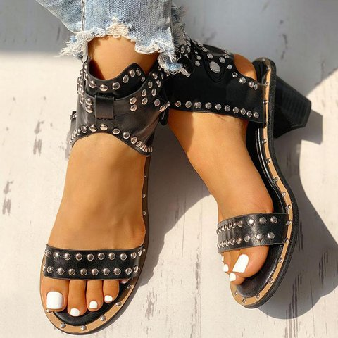Round Toe Sandals with Adjustable Buckle Studs