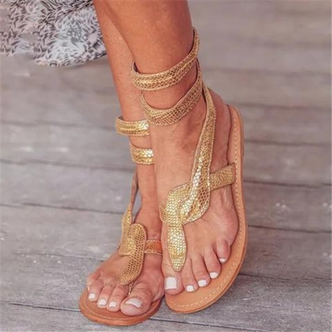 Metallic Snake Ankle Flat Sandals