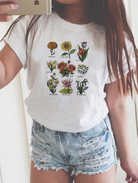 White Crew Neck Casual Printed T-Shirts & Tops