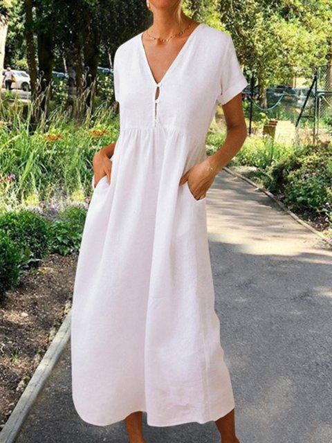 Summer Solid Maxi Dress Short Sleeve Dresses