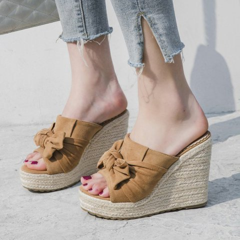 Women Wedge Heel Artificial Suede Bowknot Casual Slippers