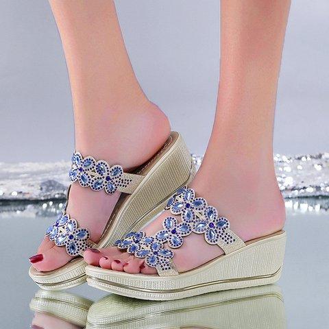 Wedge Heel Slide Sandals Summer Open Toe Slippers