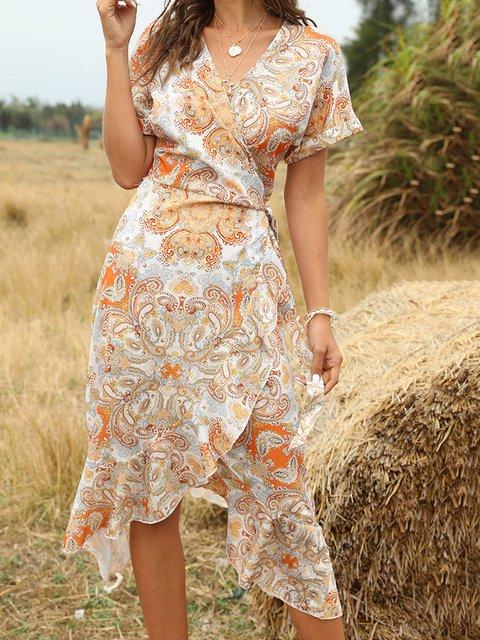 Orange Short Sleeve Paisley Dresses