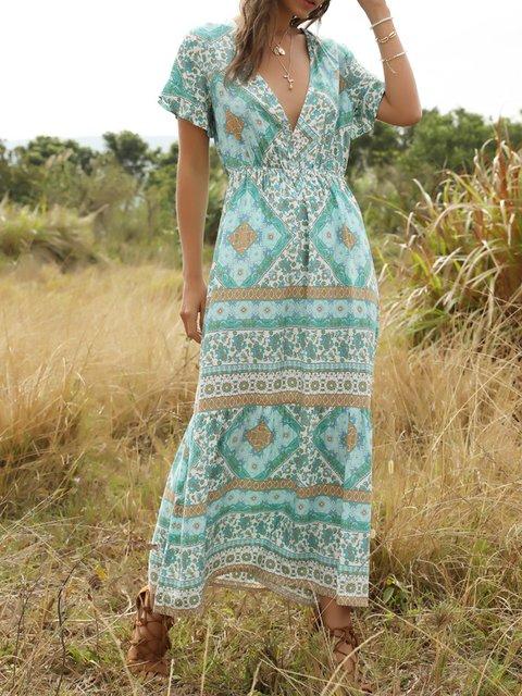 Cyan Short Sleeve Boho Dresses