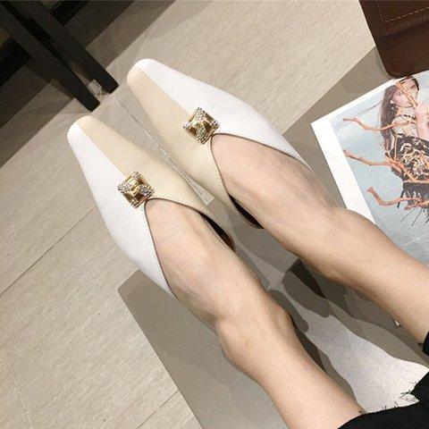Color Block Square Toe Elegant Slippers