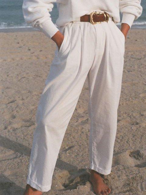 White Casual Cotton-Blend Plain Pants