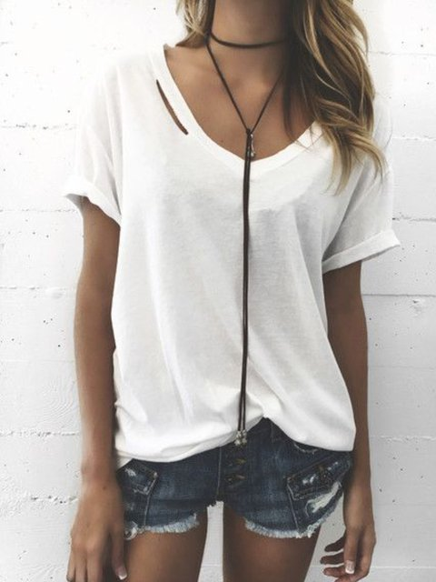 White Casual Short Sleeve Shirts & Tops