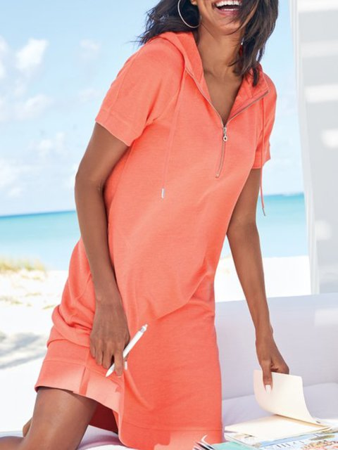 Orange Casual Hoodie Solid Short Sleeve Dresses